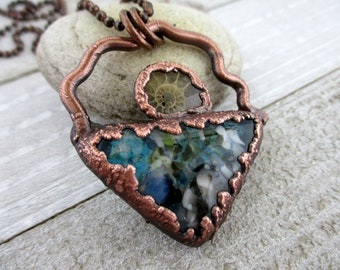 Ocean Tides Necklace, Fused Glass & Ammonite, Copper Electroformed, Copper Chain