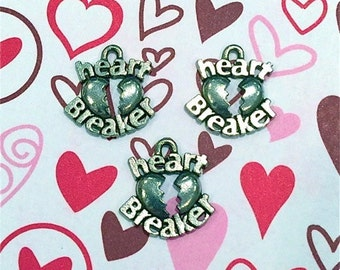 Heart Breaker Charm -4 pieces-(Antique Pewter Silver Finish)