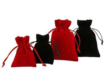 100 pieces Velvet Pouches in various sizes and colours