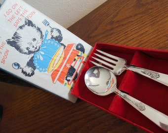 Vintage Baby Flatware Set, Spoon and Fork in Original Box, Holmes and Edwards