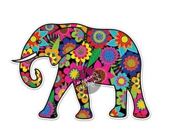 Elephant Car Decal Floral Colorful Bumper Sticker Laptop Decal Pink Green Teal Yellow Jungle Flowers Cute Car Decal