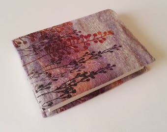 Handmade Felt Sketchbook in Soft Pinks, Greys and Purples with Botanical Design