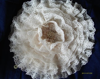 Lace Flower Pin,Ivory Lace,  Dinner Plate Corsage, 10 inches in diameter, Vintage Lace with vintage earring center,Bridal Accessory
