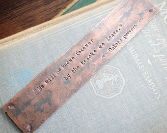 Rustic Copper Bookmark - Custom Stamped Metal Book Mark - 7th Anniversary Gift - Unique Personalized Gift for Readers, Teachers or Students