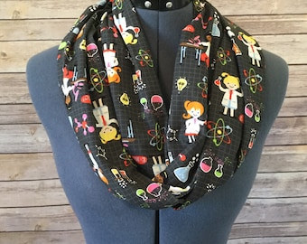 Science Ladies Infinity Scarf / Chemistry / Science / Scarf / Teacher / Professor / Infinity Scarf / DNA / Beaker / Microscope / Gift / Atom