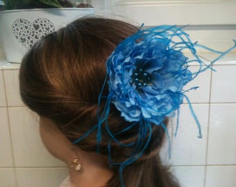 jewelry, feather and flower blue/jewelry decorative Blue/Blue/brooch/hair clip/comb flower jewelry, feather hair/lapel pin / Bobby