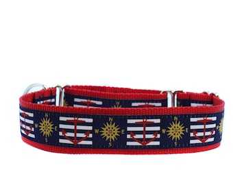 Wide 1 1/2 inch Adjustable Buckle or Martingale Dog Collar in Anchors