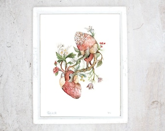 Print Beeing in love | Poster Anatomical and Botanical paintings, Print Flower plants | Blooming Hearts | Valentine Day, Wedding Gift