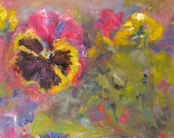 original impasto pansy oil painting, impressionism flower art, canvas impasto pansy art, wall decor, home decor, floral garden art