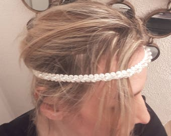 Wedding headband lace and pearls