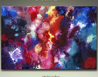 Deep Sea Coral Reef Abstract Giclee Canvas Print, from my Original Abstract Fluid Painting, Deep Water Coral Reef Art, 24x36 inches