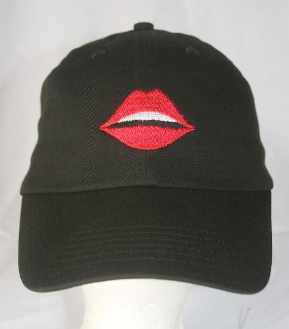 Emoji Lips - Polo Style Ball Cap (Black)
