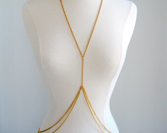 Double Loop Gold Body Chain, chain body harness, silver body chain, harness body chain, handmade bodychain, gold body harness valentines day