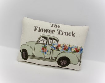 Vintage Flower Truck Pillow | Mothers Day Gift | Chevy Truck tuck | green truck pillow | Farmhouse Pick up | Flower Delivery Truck