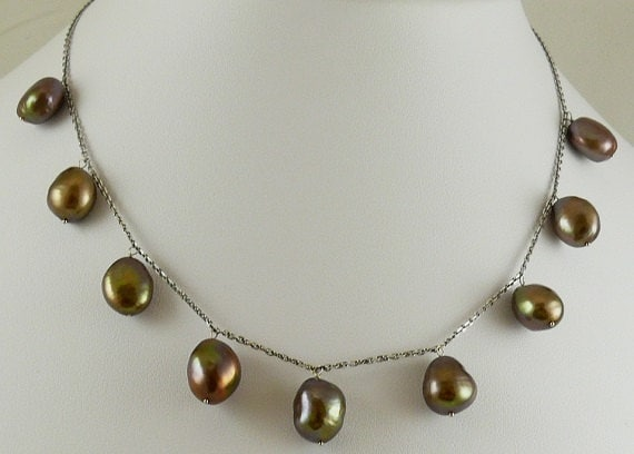 "Freshwater Chocolate Nugget Shape Pearl Necklace 16"" 14k White Gold Chain"