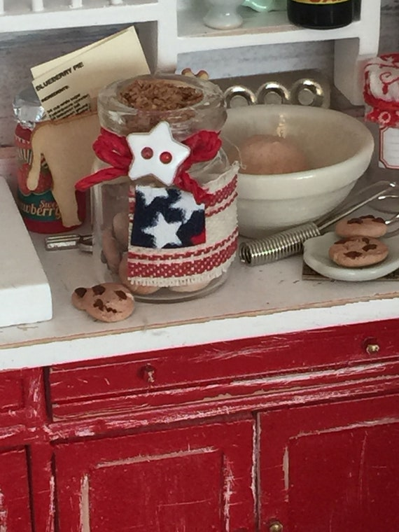 Miniature Flag Embellished Cookie Jar with Chocolate Chip cookies(polymer clay)