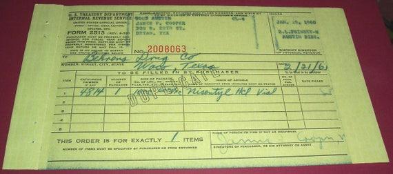 Three 1960 Us Treasury Opiumcoca Leavesopiates Order Forms