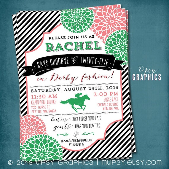 Kentucky Derby Baby Shower Invitation Stripes and Mums Any