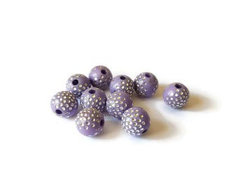 Clear purple round beads points silver 8mm