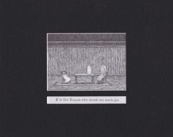 Edward Gorey 'Z is for Zillah'... Custom Matted Post Card