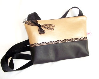 Handbag two-tone black and gold, adorned with Black Lace leather pouch
