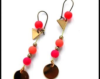 ETSY//Boucles dégradé rose : Boucles d'oreilles rose violet - Boucles rose pâle - Boucles rose fluo - Boucles pendantes dorées