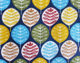 Floral Fabric By The Yard - Leaves in Print - Half Yard