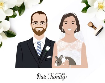 Wedding portrait. Gift for wife. Valentine's day gift. Custom couple portrait, digital hand drawn illustration.