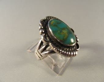 Vintage Sterling and Turquoise 1960s Harvey Era Ring