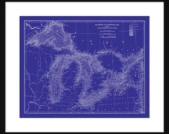 Map Great Lakes  -  Map Art - Lake Superior, Lake Michigan, Lake Huron, Lake Erie