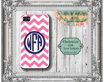 Preppy Pink Monogram iPhone Case, Personalized iPhone Case, iPhone 4, iPhone 4s, iPhone 5, iPhone 5s, iPhone 5c, iPhone 6, Phone Case