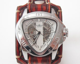 Vintage Leather Wrist Watch, Skeleton Men's watch, Leather Cuff, Bracelet Watch, Watch Cuff
