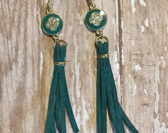 Teal leather tassel earrings