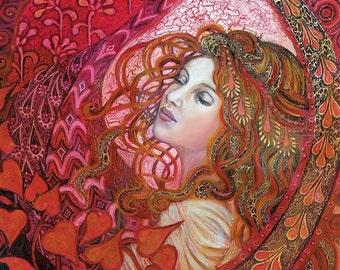 Aphrodite Art Nouveau Goddess Art 20x24 Giclée Print on Canvas Pagan Mythology Psychedelic Bohemian Gypsy Goddess Art