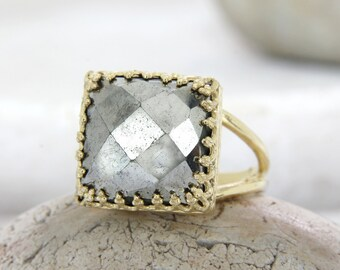 MOTHER'S DAY SALE - gold pyrite ring,gemstone ring,square ring,bridal ring,wedding ring,brides gift,birthday ring,bridal jewelry