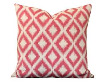 Robert Allen Raspberry Ikat Fret Pillow Cover