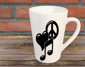 Peace Love Music Mug Coffee Cup Gift Home Decor Kitchen Bar Gift for Her Him Any Color Personalized Custom Jenuine Crafts