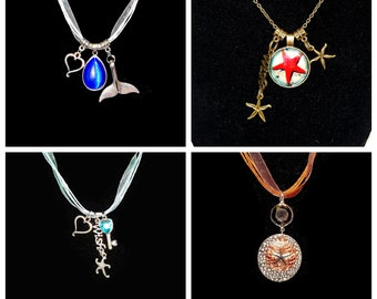 Coastal Beach MERMAID STARFISH WHALE Pendant Charm Necklace Jewelry - Multi-Colorful Silver Womans Girl Wedding Gift