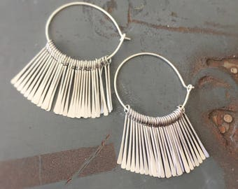 Egyptian Princess Earrings - Silver Fringe - Inspired by Papyrus Fronds and Lux Living - 1970s Disco Princess
