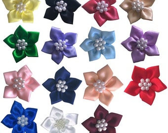 Five Petal Pearl Cluster Ribbon Flower - 20pcs