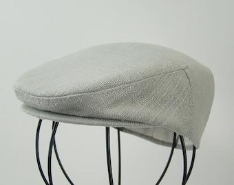 Baby Boy Silver Grey Linen Blend Flat Jeff Cap, Ivy , Driving Cap - Custom Handmade Infant Hat
