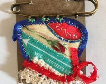 Emma & Mr Knightley textile brooch