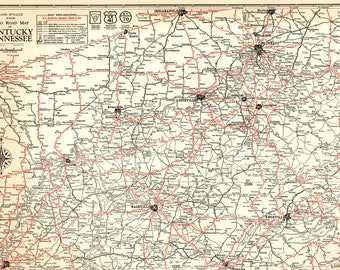Kentucky map art etsy 1932 rare antique map of kentucky vintage tennessee road map black and white gallery wall art publicscrutiny Images