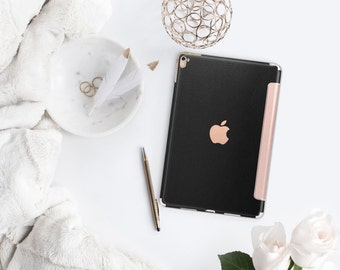 iPad Case . iPad Pro 10.5 . Black Leather with Rose Gold Smart Cover Hard Case for  iPad mini 4  iPad Pro  New iPad 9.7 2017