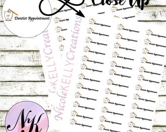 32 Dentist Appointment Stickers, Stickers, Dentist Stickers, Appointment sticker, use with Erin Condren Planner(TM), Happy Planner, planner,