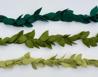 Green Leaf Felt Garland, Leaf Garland, Christmas, Nursery Decor, Baby Shower Garland, Baby Shower Decor, Wedding Decor, Baby Boy Decor