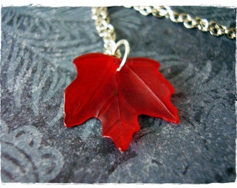 Red Maple Leaf Necklace - Red Lucite Maple Leaf Charm on a Delicate Silver Plated Cable Chain or Charm Only
