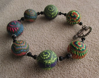 Large Stacker-Ball Polymer Clay Bracelet - Handmade Beads