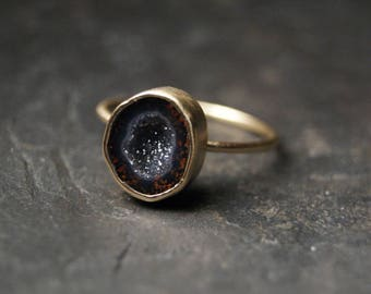 Small Dark Geode Druzy Ring in Solid 14K Yellow Gold