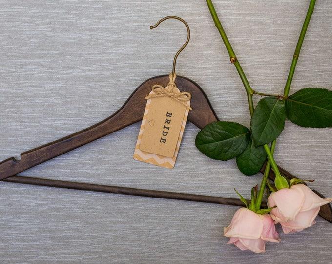 Wedding Hanger with Personalised Chevron Kraft Card Label